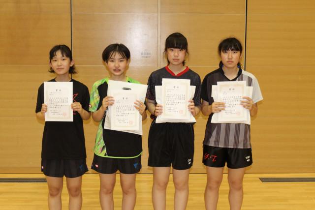 女子14歳以下シングルスとダブルスの上位入賞者