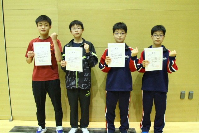 男子14歳以下シングルス上位入賞者