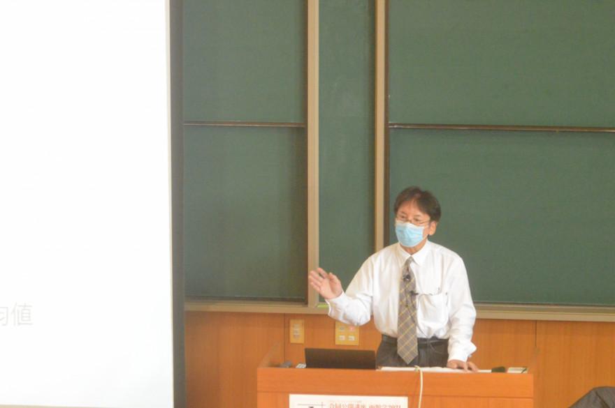 函館の大学生の幸福度について講演する西村准教授