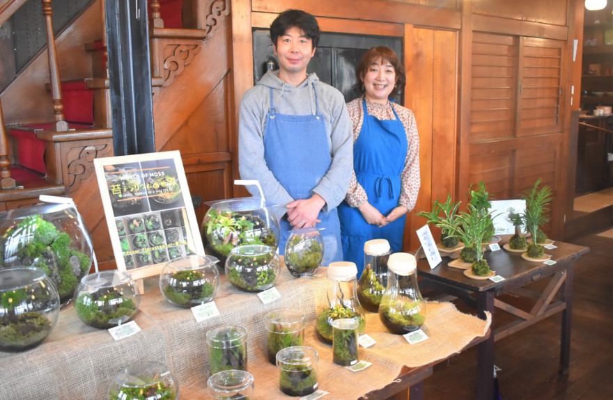 梅森代表(右)と菅原さんが手掛けた苔テラリウムやミニ盆栽など計約100点を展示している
